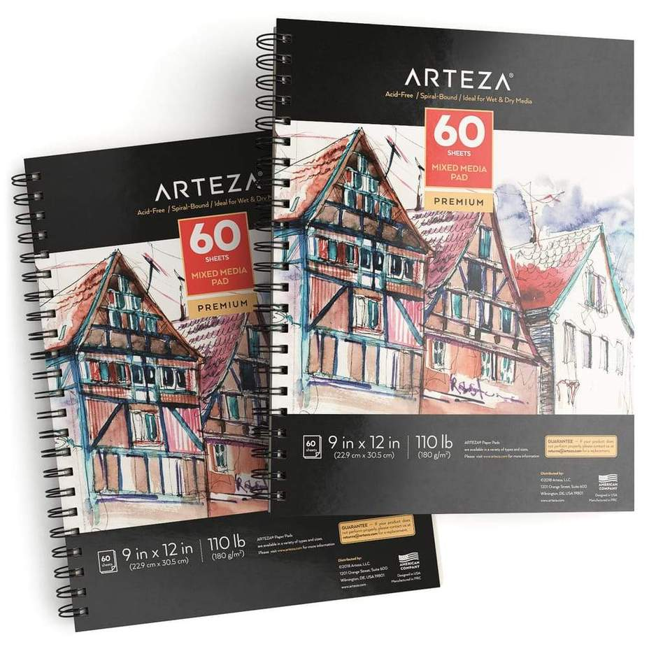 "9x12"" Mixed Media Pad, 2 Pack, 110lb/180gsm, 120 Sheets, $23.99"