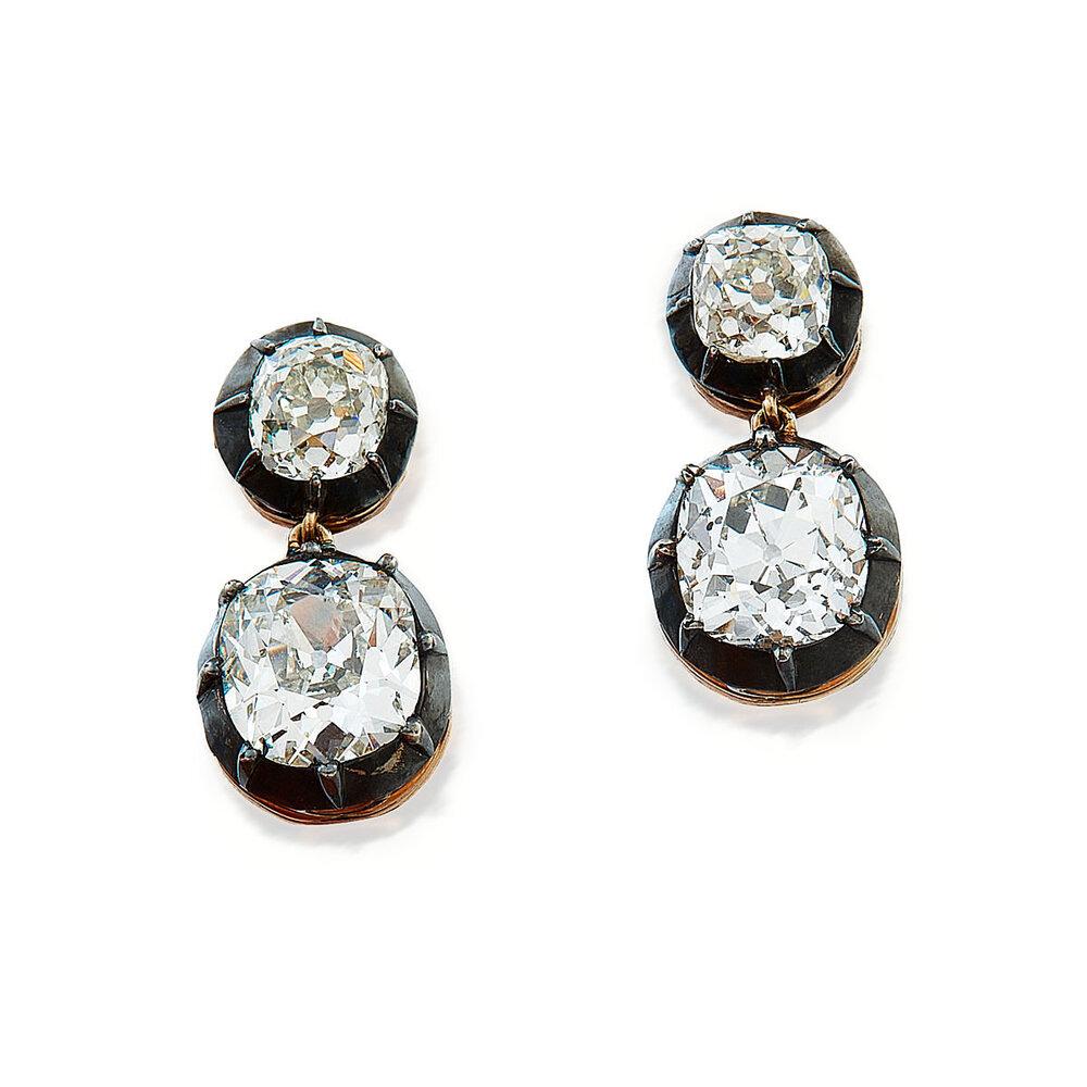 19th Century Old Mine Cut Diamond Dormeuse Earrings Arts International