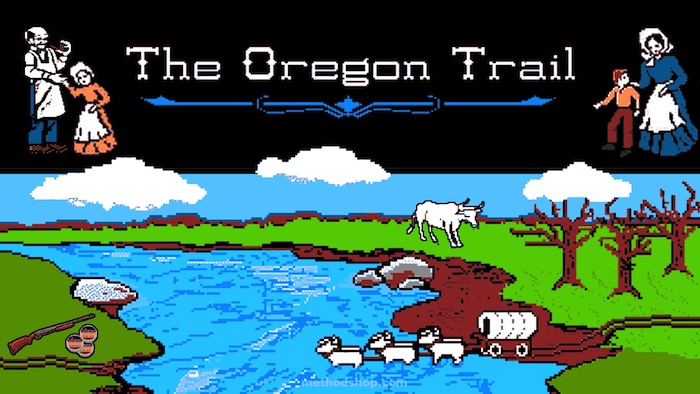 """One of the versions of """"The Oregon Trail""""'s title screens."""