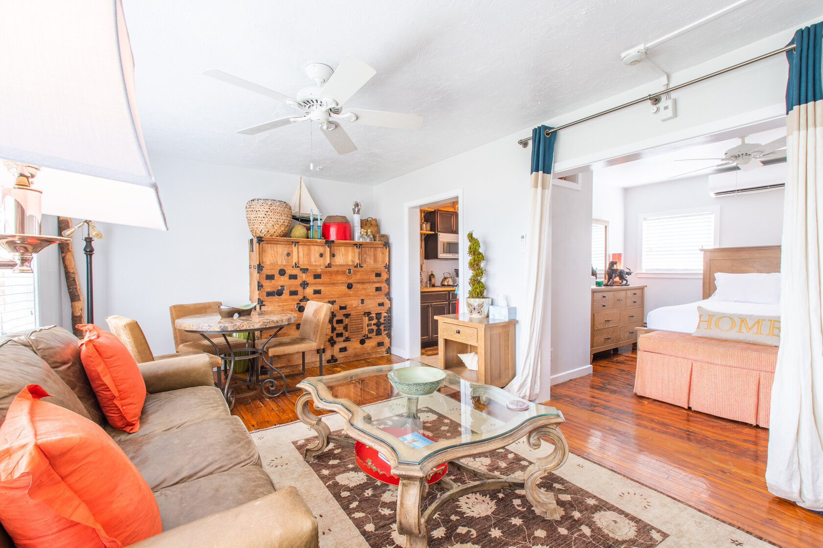 The living room of the Laurel loft at Burns Square Historic Vacation Rentals