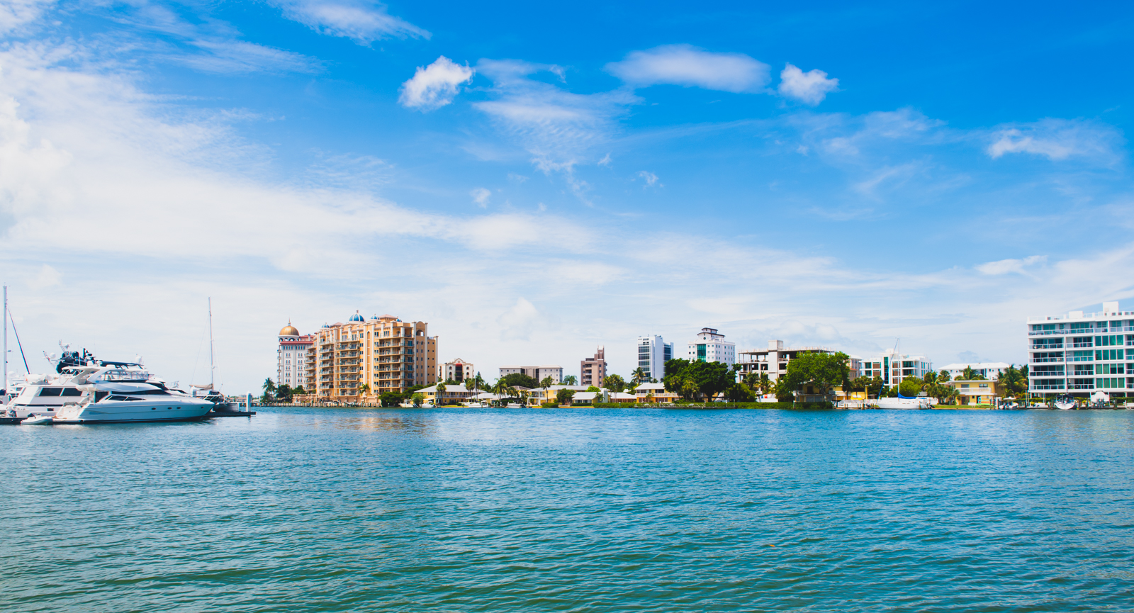 A view of downtown Sarasota from the waters of the bay