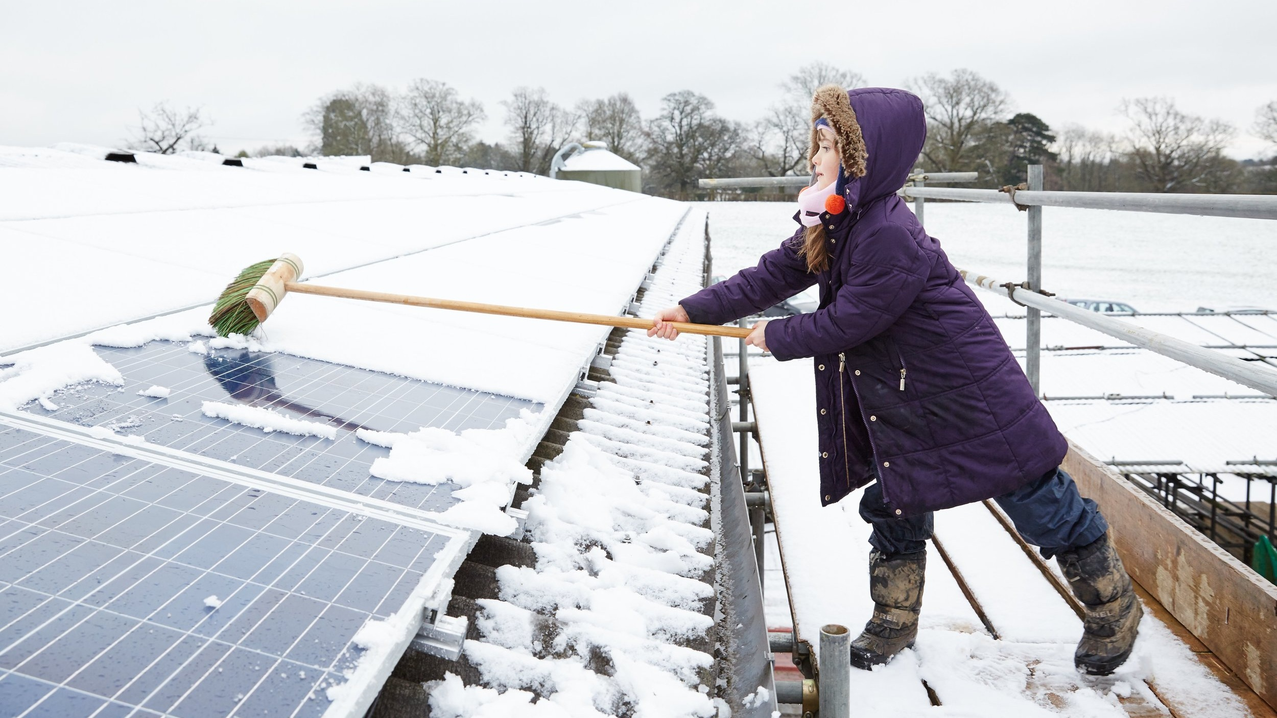 young girl in purple coat sweeps snow off solar panels.