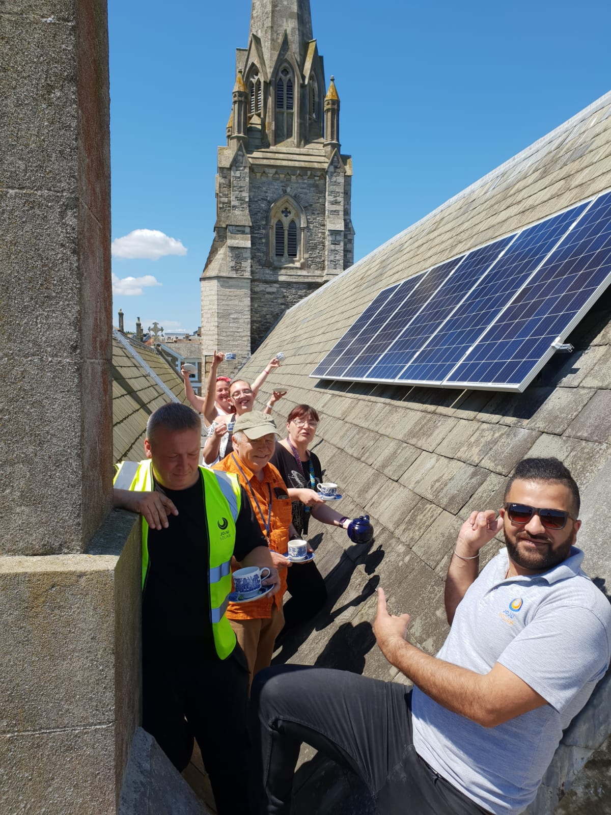 people install solar panels on church roof