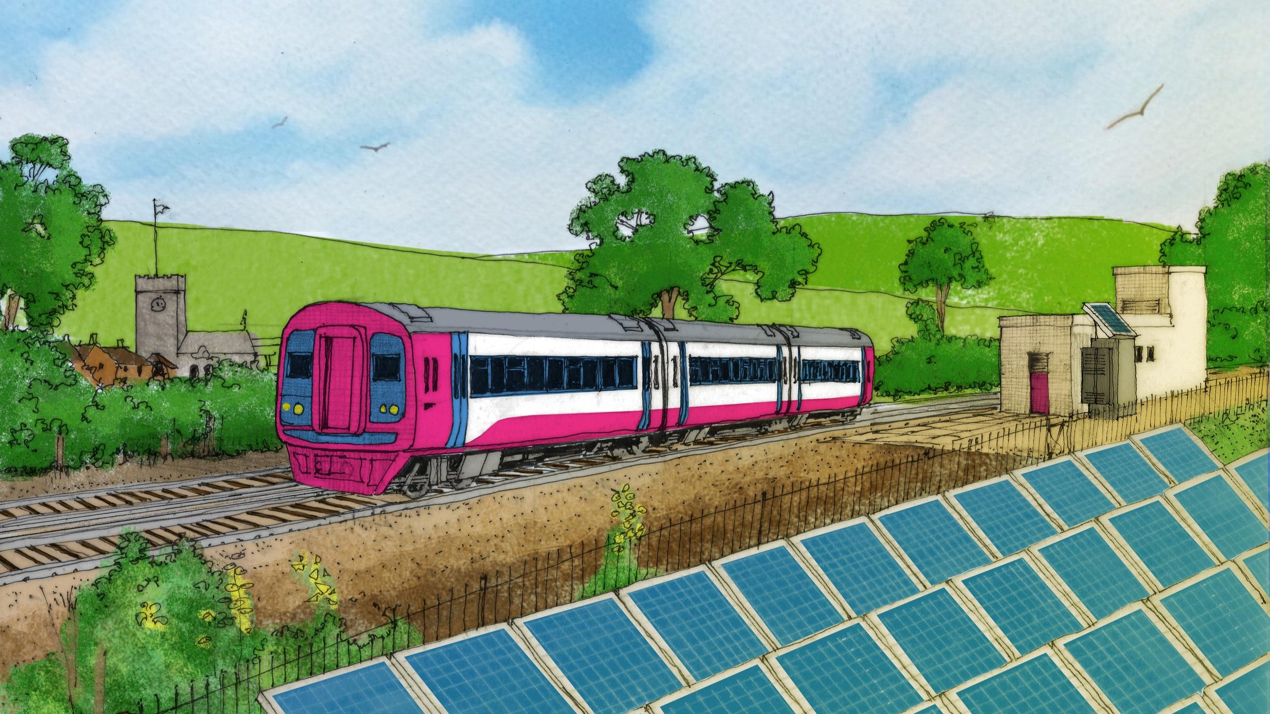 train illustration. Link: Riding sunbeams