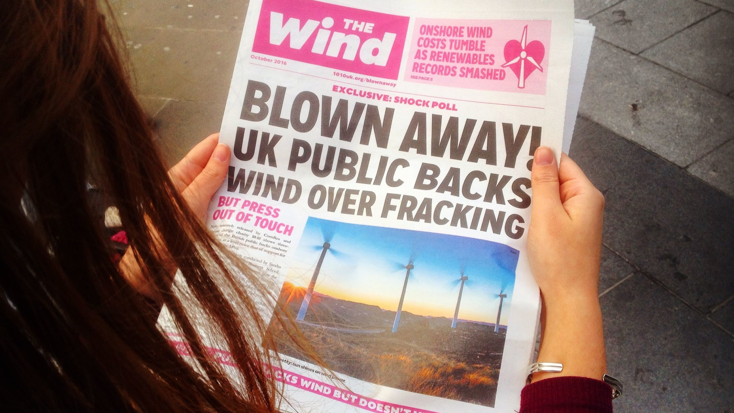 fake newspaper called 'the wind'. headline is 'blown away! UK public backs wind over fracking'. Link: resources