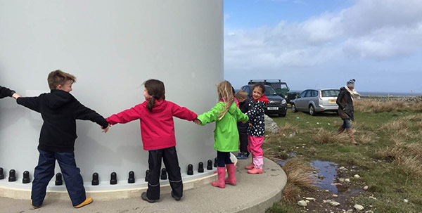 These kids on the Isle of Tiree love wind turbines too!