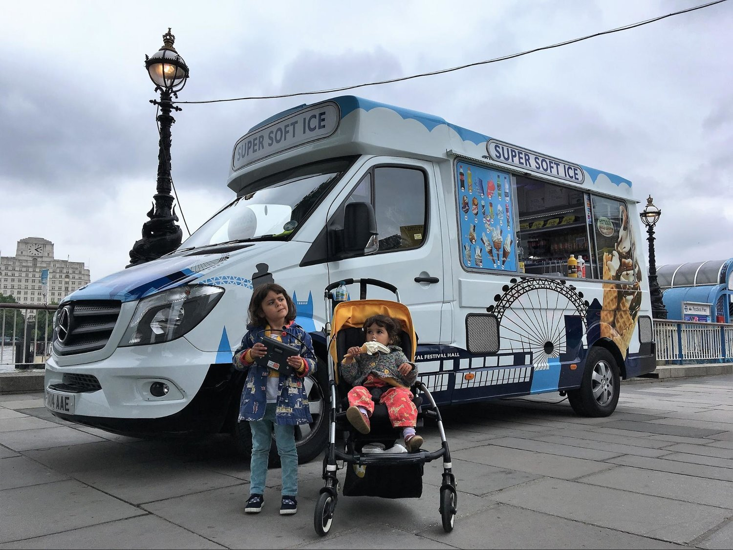 Volunteers measuring air pollution at an ice cream van on the South Bank, London.