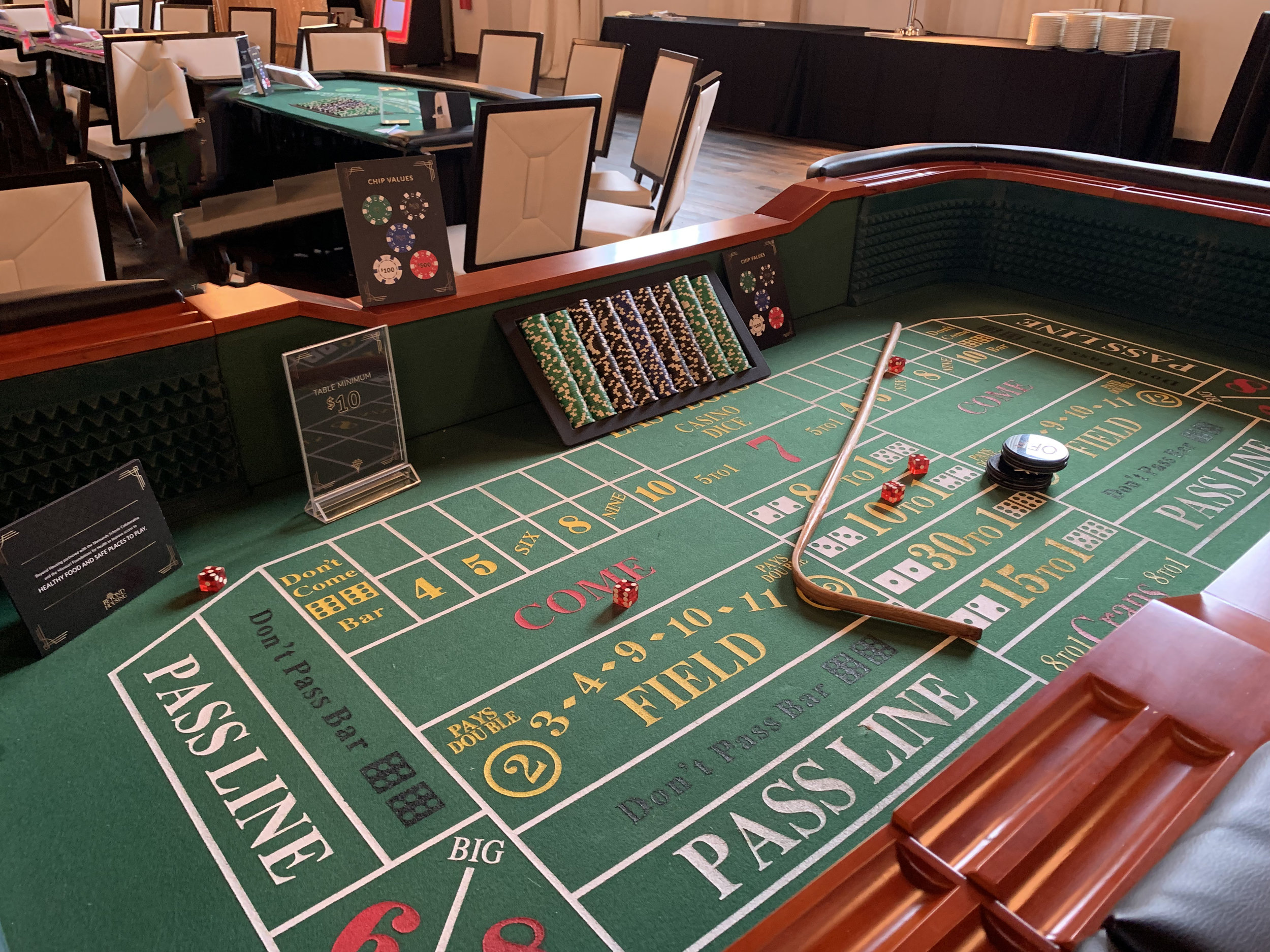 CRAPS: Craps can accommodate 10-15 guests at once and it is one of our most exciting games. While craps is a bit more complicated than our other offerings, our dealers are happy to teach anyone how to play.