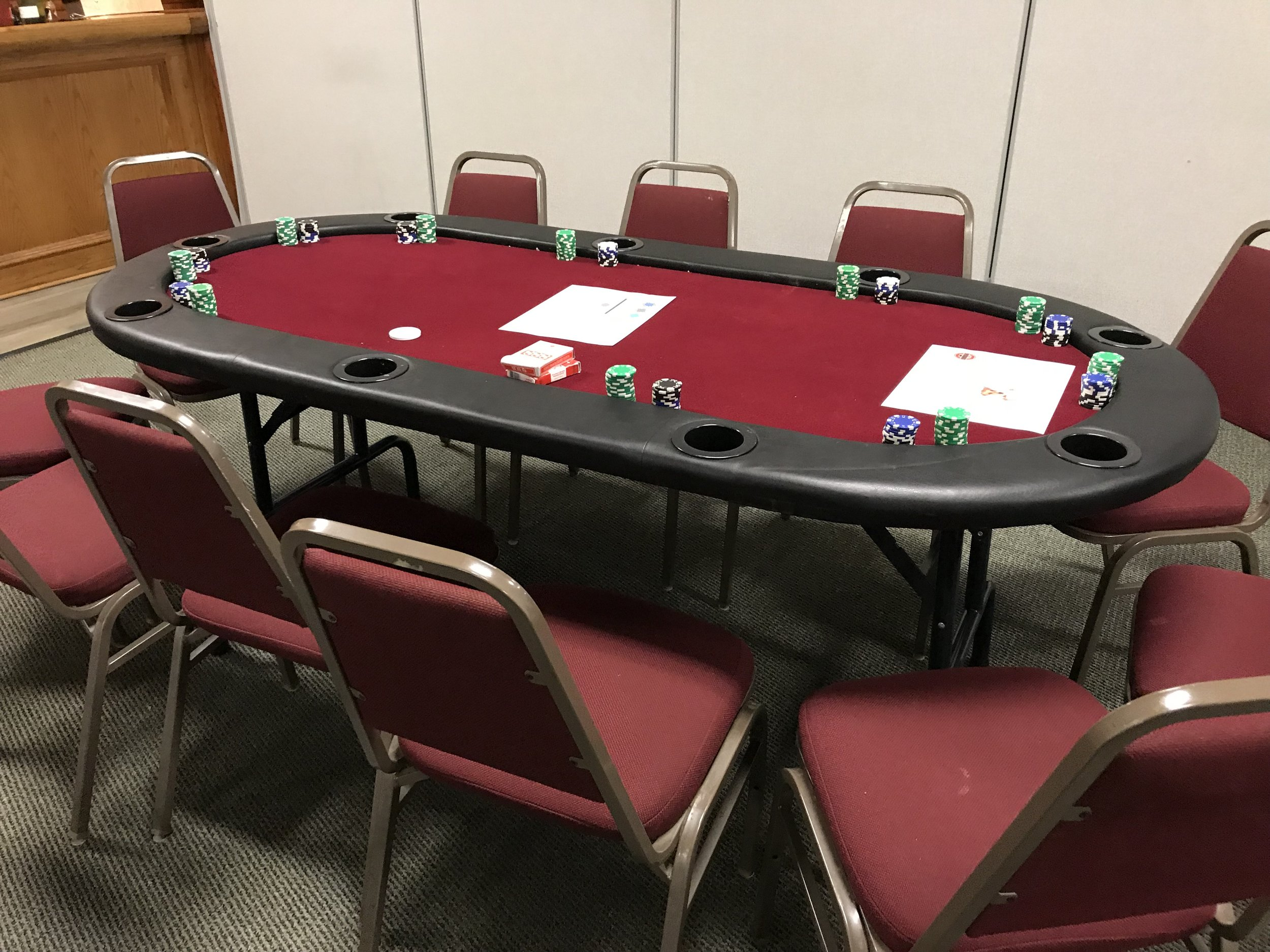 POKER: Each poker table can hold nine players in addition to the dealer. Typically, guests play Texas Hold'em. We can also organize a separate poker tournament for your event.