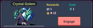 Quest Enemy with rewards and cost shown