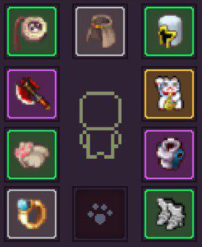 Necklace, Cape, Helmet, Off-Hand, Armor, Boots, Pet, Ring, ???, Main-Hand (clockwise from top right)