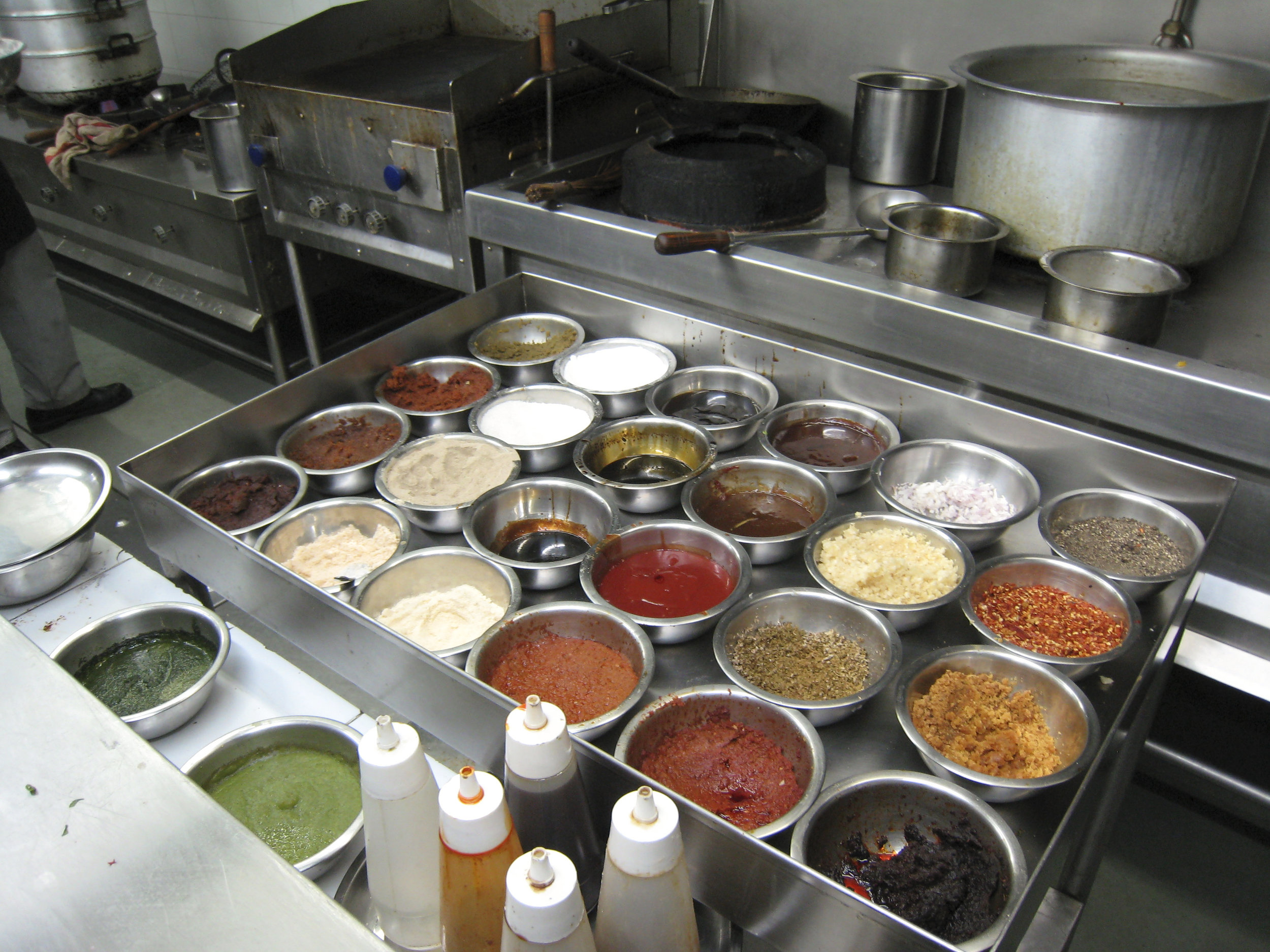 mise en place philosophy demonstrated with a careful segregation of ingredients into separate bowls -