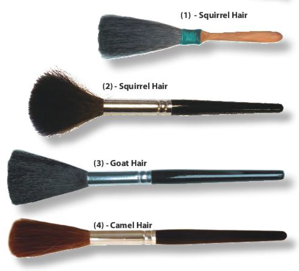Powder Brushes, available in a variety of textures.