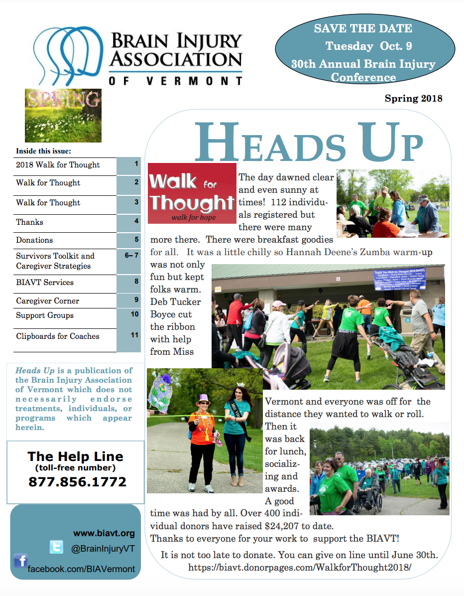 SPRING 2018 NEWSLETTER - Inside:2018 Walk for ThoughtSurvivors Toolkit and Caregiver StrategiesCaregiver Corner