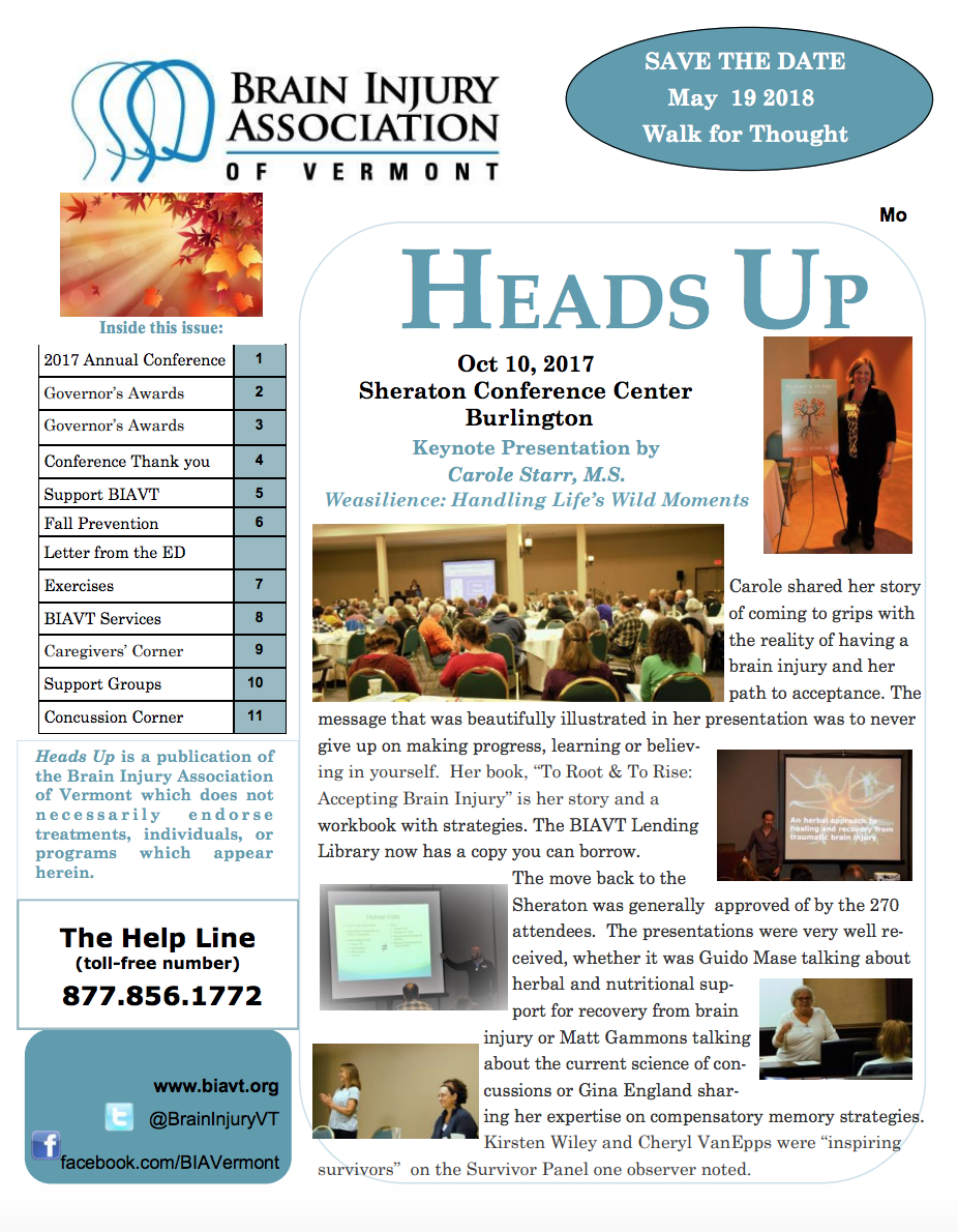 FALL/WINTER 2017 NEWSLETTER - Inside:2017 Annual ConferenceGovernor's AwardsConference Thank you