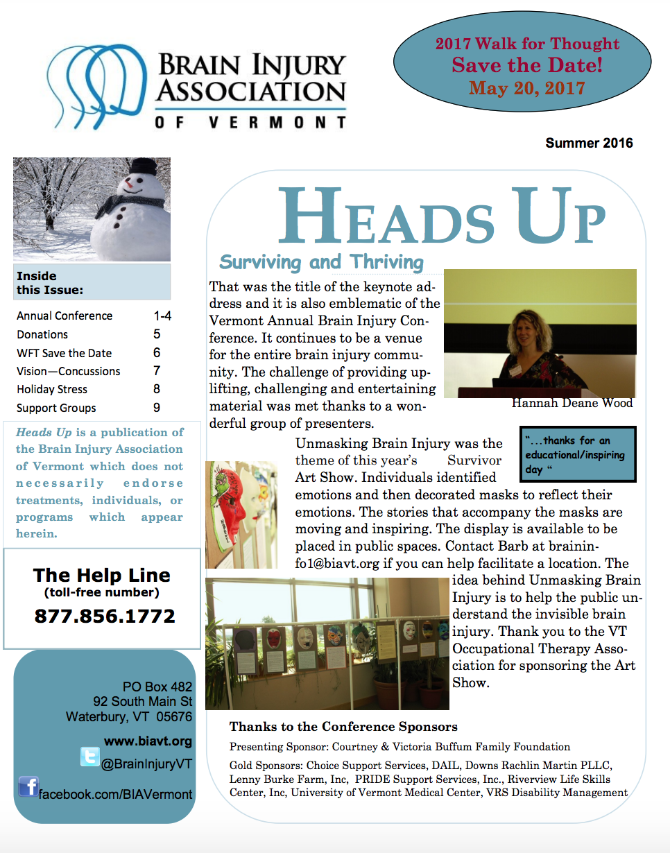 WINTER 2016 NEWSLETTER - Inside:Annual ConferenceDonationsWFT Save the Date