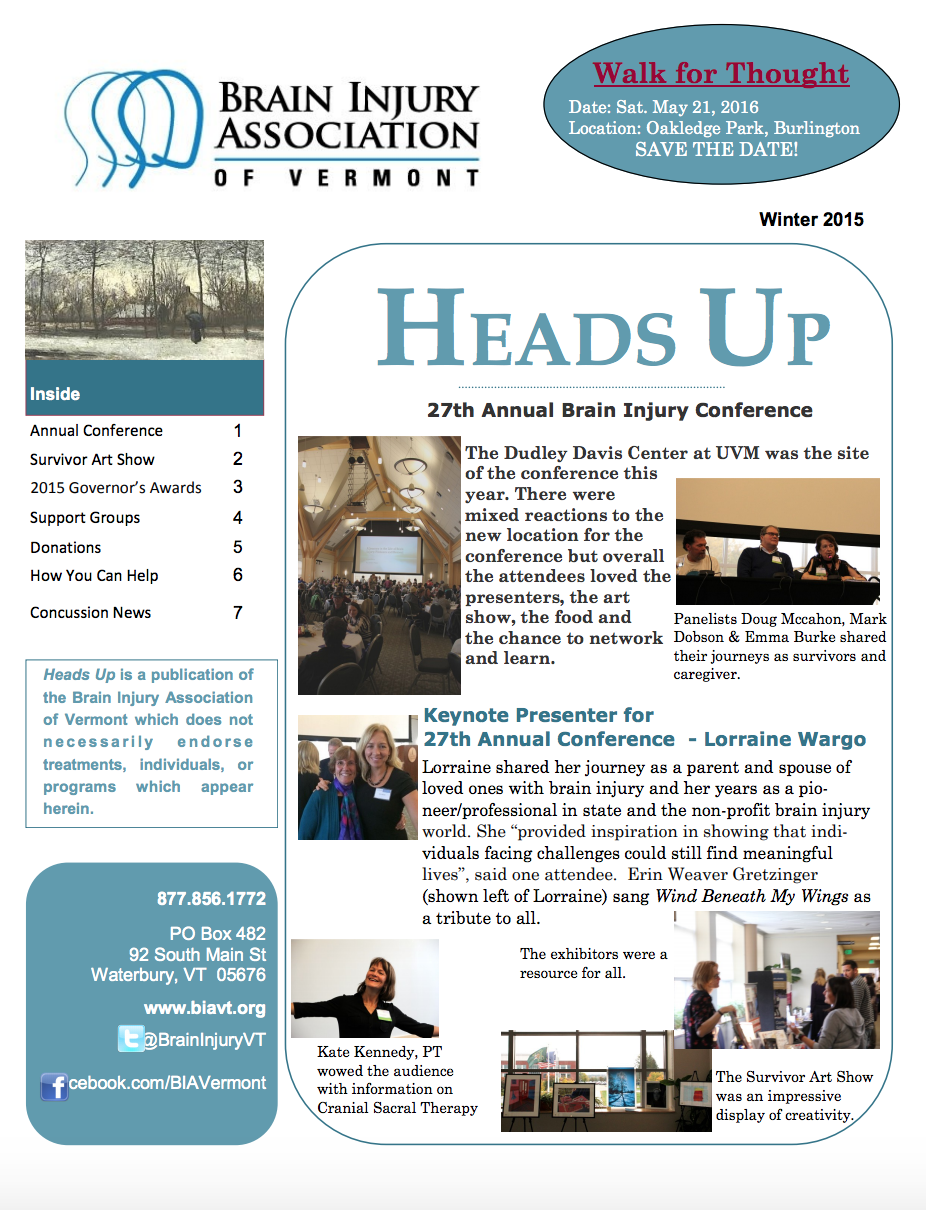 WINTER 2015 NEWSLETTER - Inside:Annual ConferenceSurvivor Art Show2015 Governor's Awards