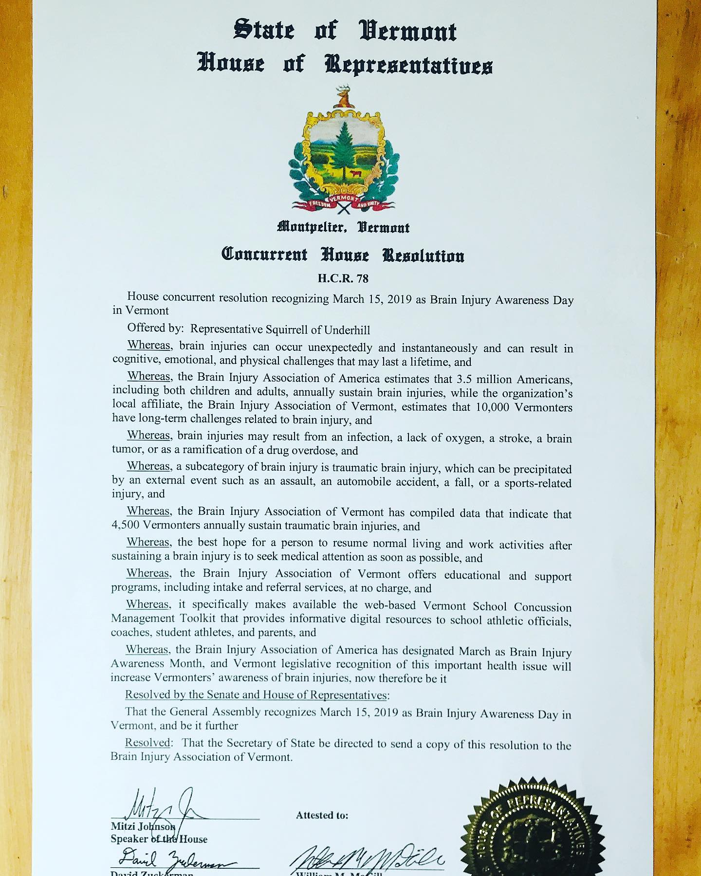 Resolution HCR 78 officially declaring March 15th, 2019 as Brain Injury Awareness day in Vermont