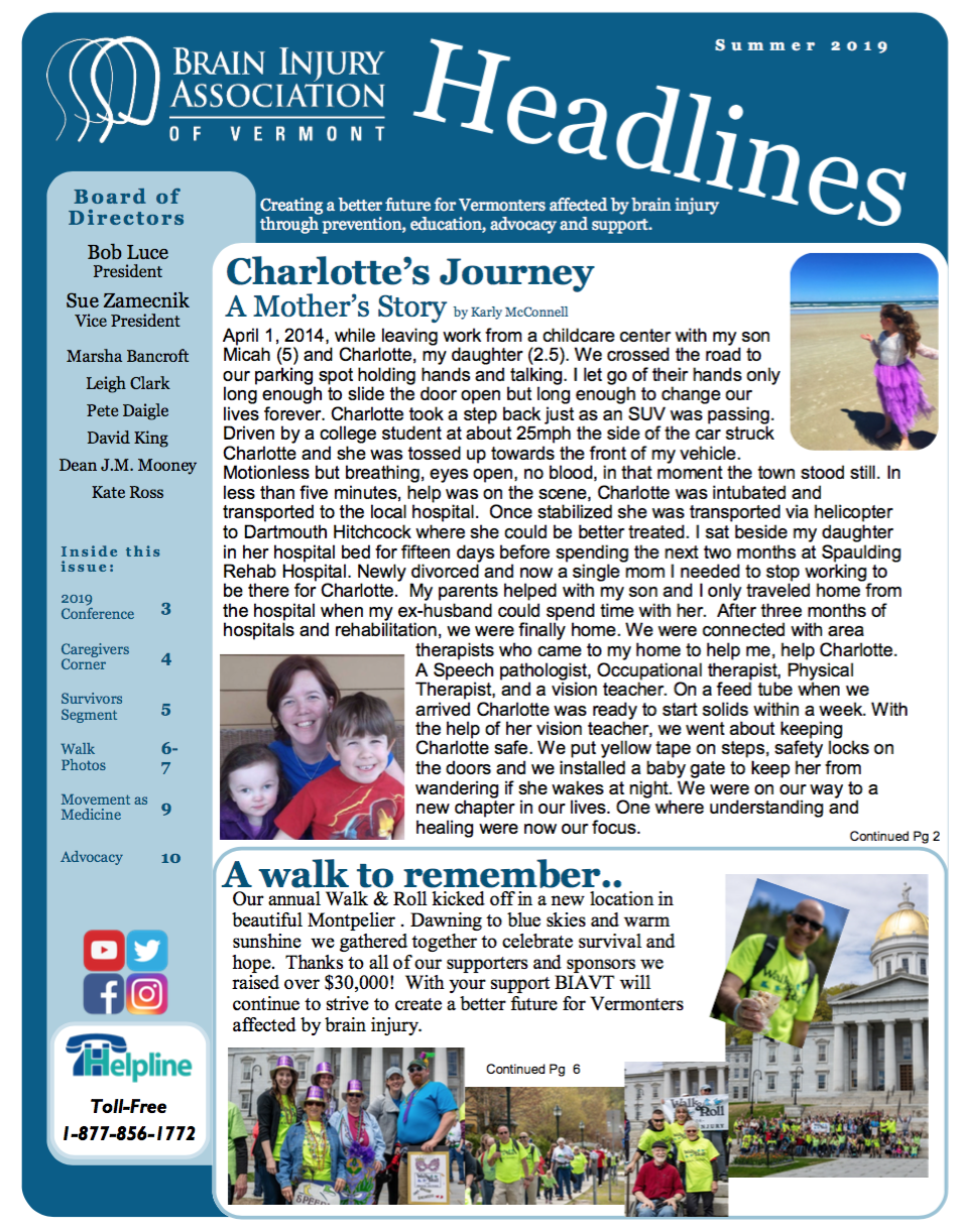 SUMMER 2019 NEWSLETTER - Inside:Charlotte's Journey; A Mother's Journey2019 Walk & Roll Fundraiser PhotosA-B-C's for Caregivers