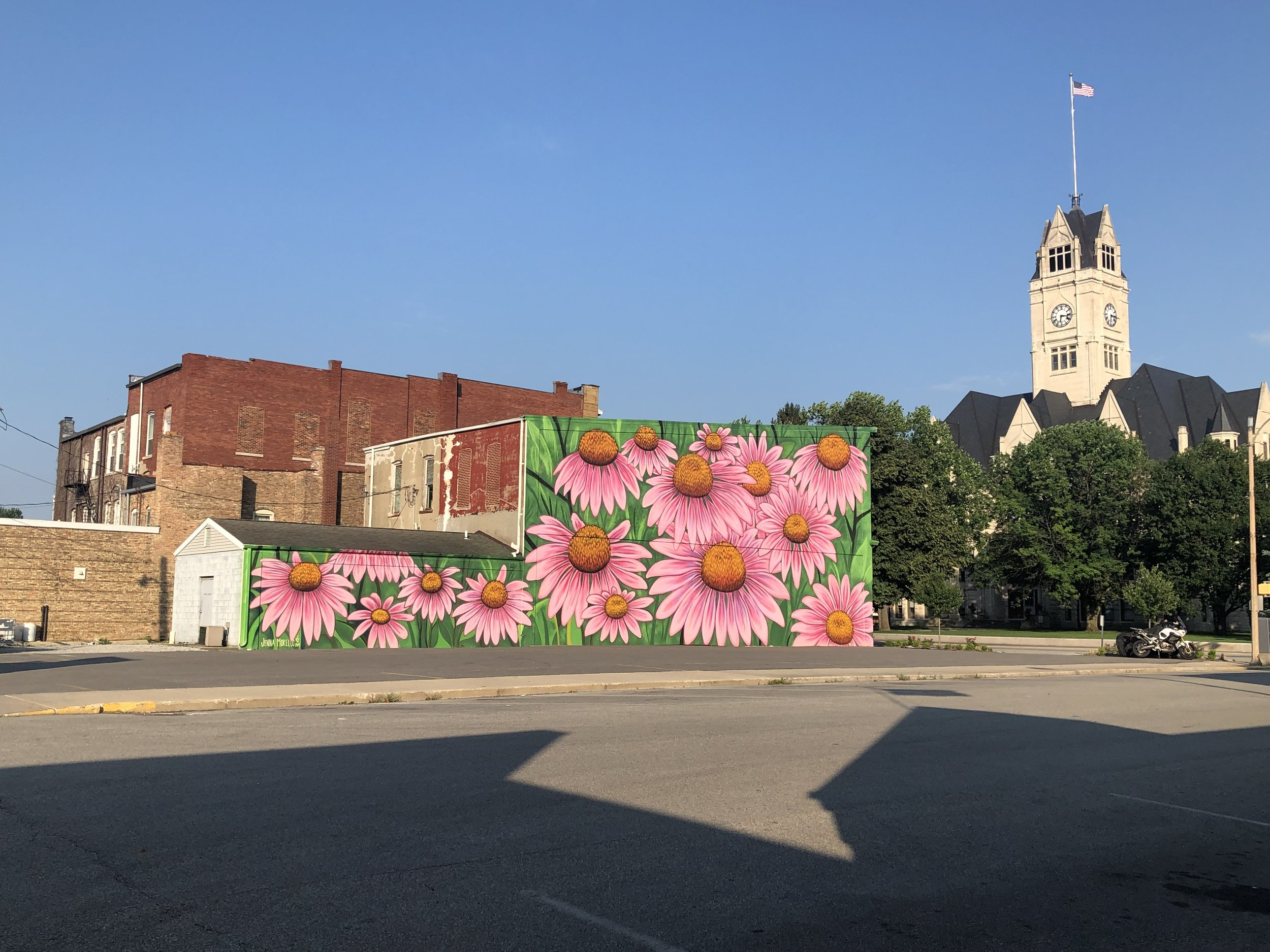 MURAL 14 - This large scale piece by Jenna Morello depicts local Indiana cone flowers and begins the second block of the RENARTWLK. Now these beautiful blooms will always be in season…