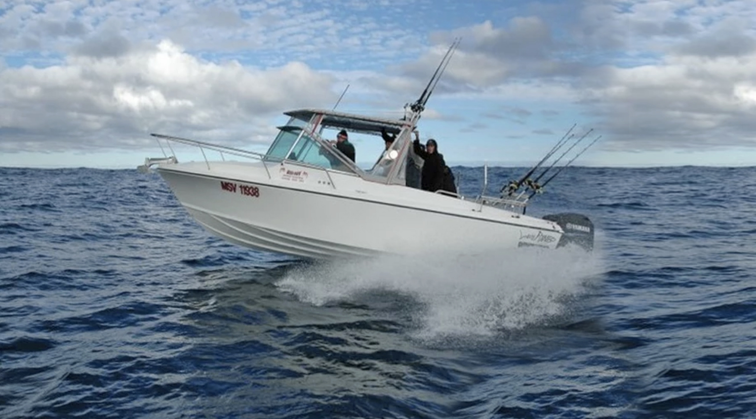 About Our Boat - About Dan   Charters   ContactOur boat is a near new 5 year old, 7.5mtr custom built White Pointer built by well known boat builder Eric Hyland. This vessel is powered by twin Yamaha 150 four strokes and has a top speed of 85kph.It is built to TSV survey standards and is licensed to travel 30nm off the mainland of Australia and is in current 2C and 2D survey. 2C being ocean going, we are licensed to carry 6 passengers and 2 crew.It has been fitted out with the very best of everything from the Furuno 585 to the Lowrance HDS 10, right through to the very best led lighting from hella marine, all safety gear is to marine board survey standards so you can be assured, that when you are aboard