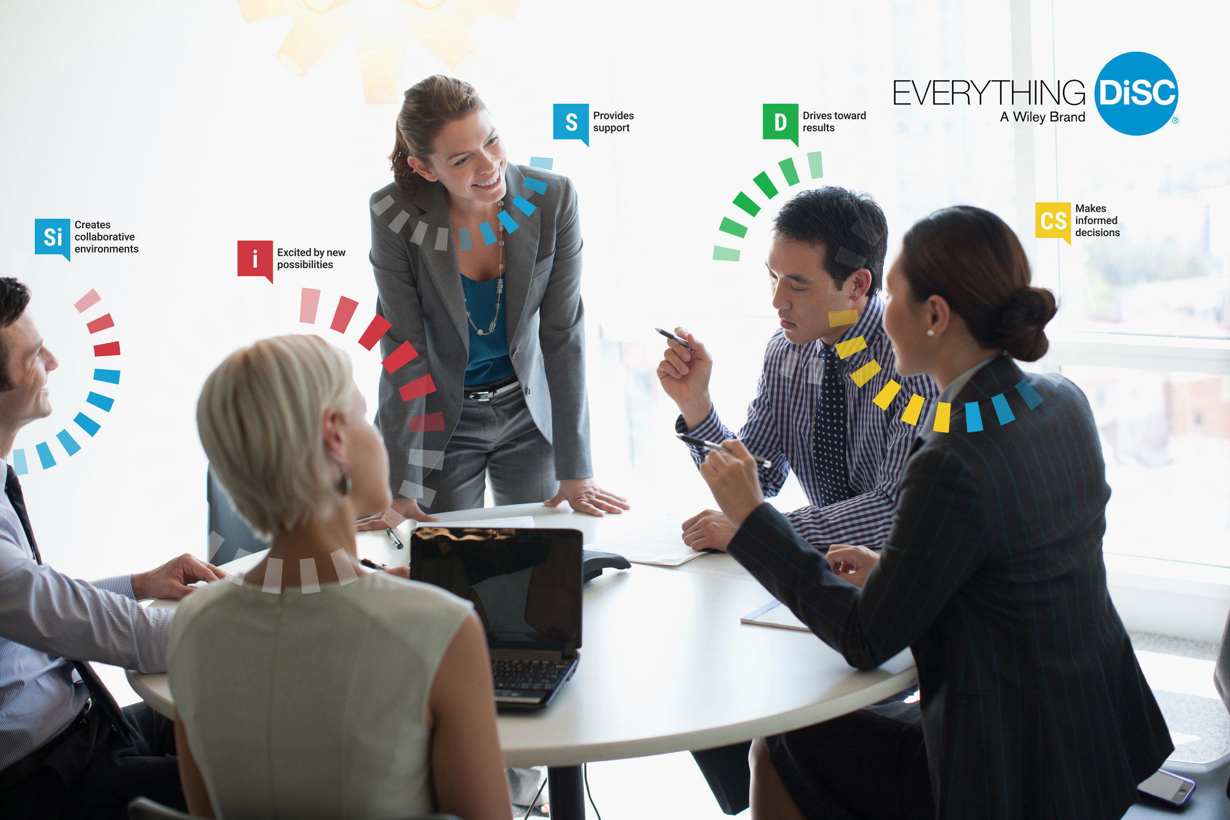 A business team meets around a table; each person has a colored halo showing their DiSC personality group.