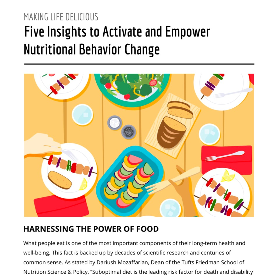 """How to Change Nutritional Behavior - What people eat is one of the most important components of their long-term health and well-being. However, getting people to """"eat healthier"""" isn't nearly as simple as it may sound. Here at Monj, we think it's time for a paradigm shift regarding how to think about guiding large populations of people towards a lifetime of healthy eating. This whitepaper reviews five research-backed insights to help activate and empower nutritional behavior change.To download"""