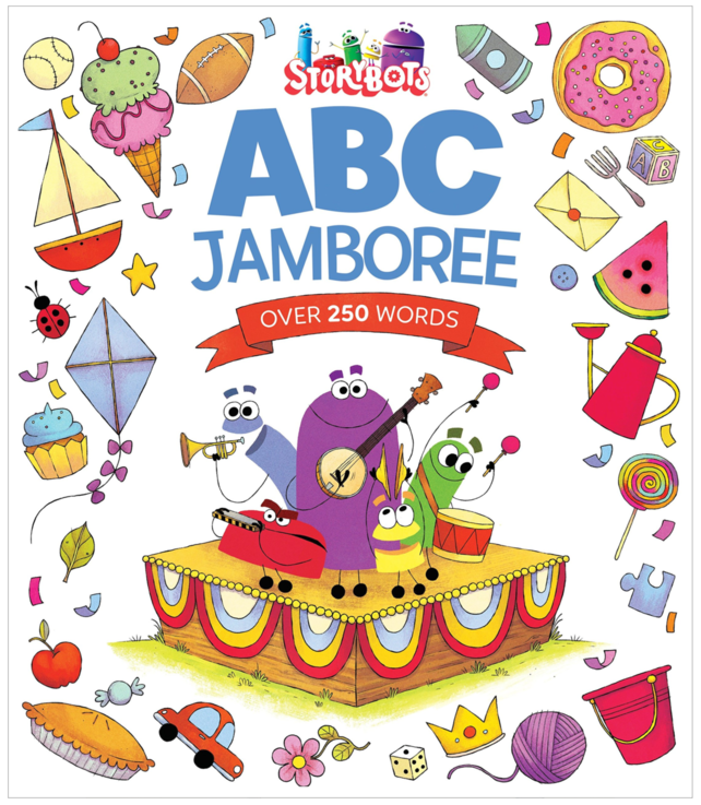 "STORYBOTS ABC JAMBOREE - Hardcover: 40 pagesSize: 10.5 x 12.1 inchesABC Jamboree is packed with rollicking rhyming text and items from A to Z. Whether bouncing on a bed or eating cupcakes at a circus, the StoryBots love helping little learners master the alphabet in this book inspired by the ""ABC Jamboree"" video. A special"