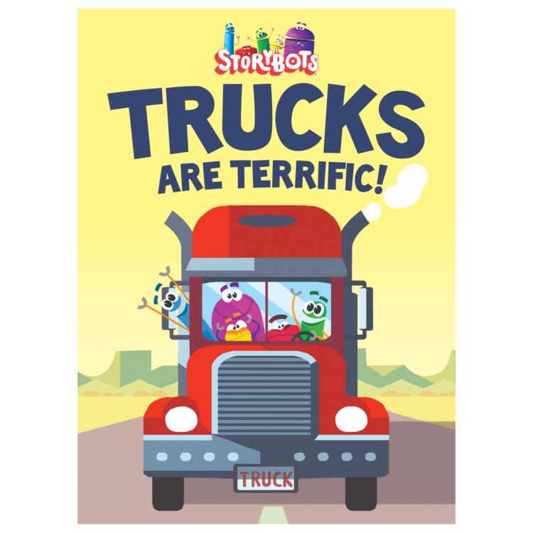 "TRUCKS ARE TERRIFIC! - Board Book: 24 pagesSize: 5.2 x 7.2 inchesNo matter their shape or size or what they're hauling, trucks rule! Join the StoryBots as they drive trucks both familiar and silly in this hilarious board book. Toddlers and preschoolers will recognize the signature catchy rhymes and colorful art from the video ""Drive a Truck""."