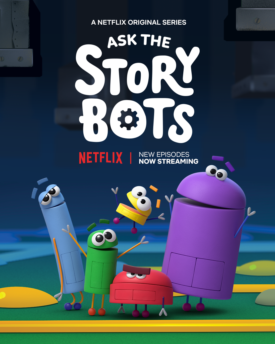 "Ask the STorybots - Join Beep, Boop, Bing, Bang and Bo as they help answer kids' biggest questions, like ""how do computers work?"" and ""why can't I eat dessert all the time?"". Called the ""best kids' show on Netflix"" by WIRED and Decider, the Emmy Award-winning series is back for an all-new season featuring the biggest questions yet and an incredible cast of celebrity guest stars."