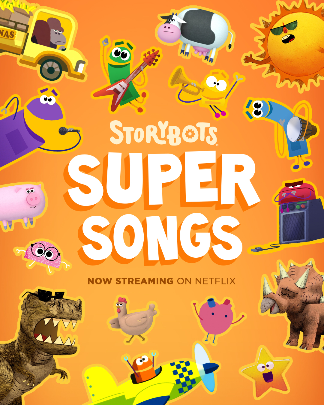 STORYBOTS SUPER SONGS - Sing and dance along with your favorite StoryBots characters as they learn about topics including outer space, dinosaurs, shapes, emotions, colors and more. Real kids join Team 341-B as they explore complex lessons through catchy and clever music videos.