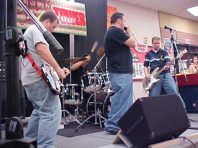 Playing at Tower Records