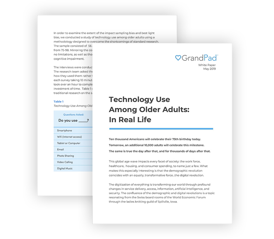 95% of Seniors Miss Out On Video Calls - GrandPad conducted an independent study to better understand technology use among older adults.