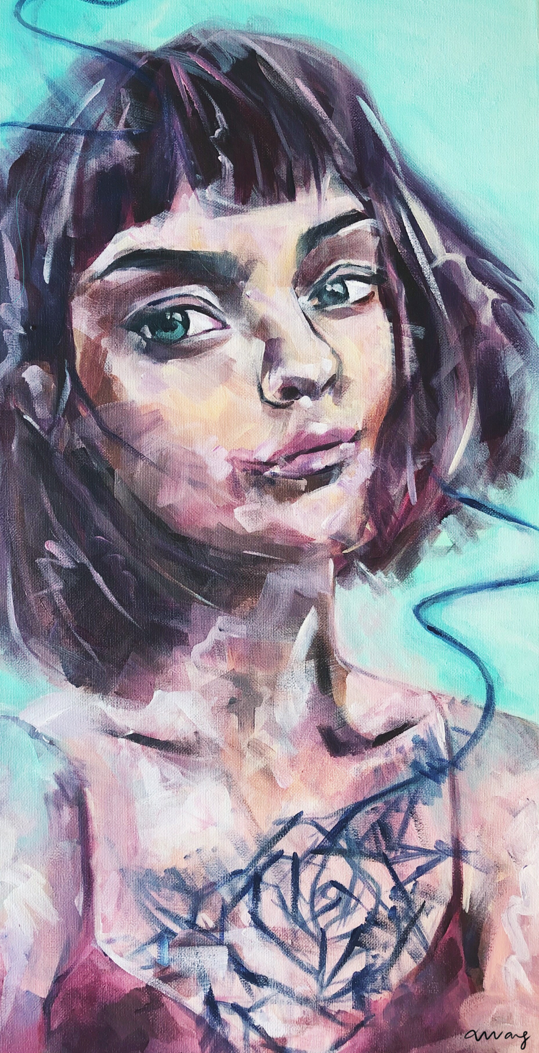 Not Blue, But Rosy, Xixi Wang, acrylic on canvas, 12x24, $1000.JPG
