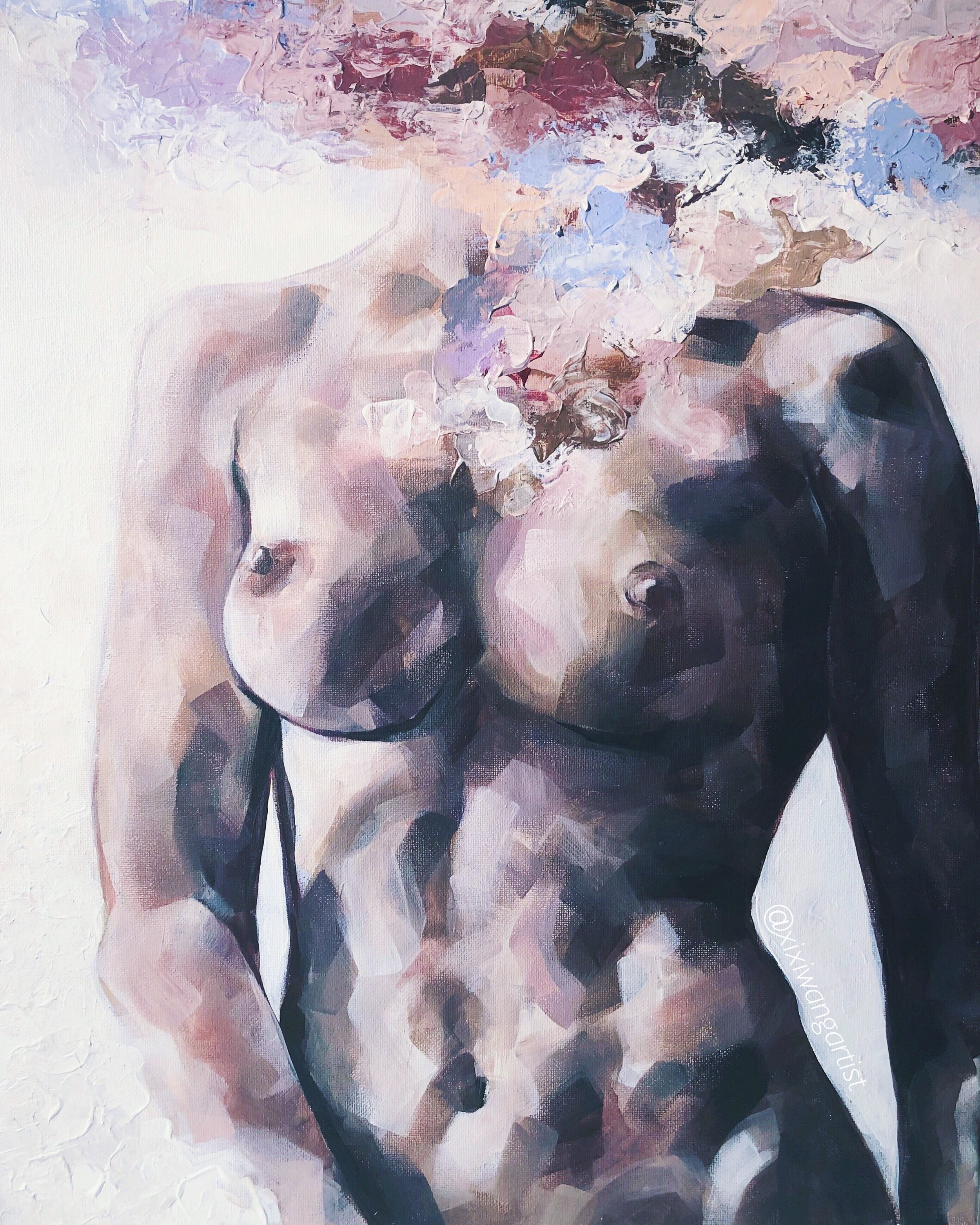 Her Fight the Fury, Xixi Wang, acrylic on canvas, 16x20, $1200.JPG