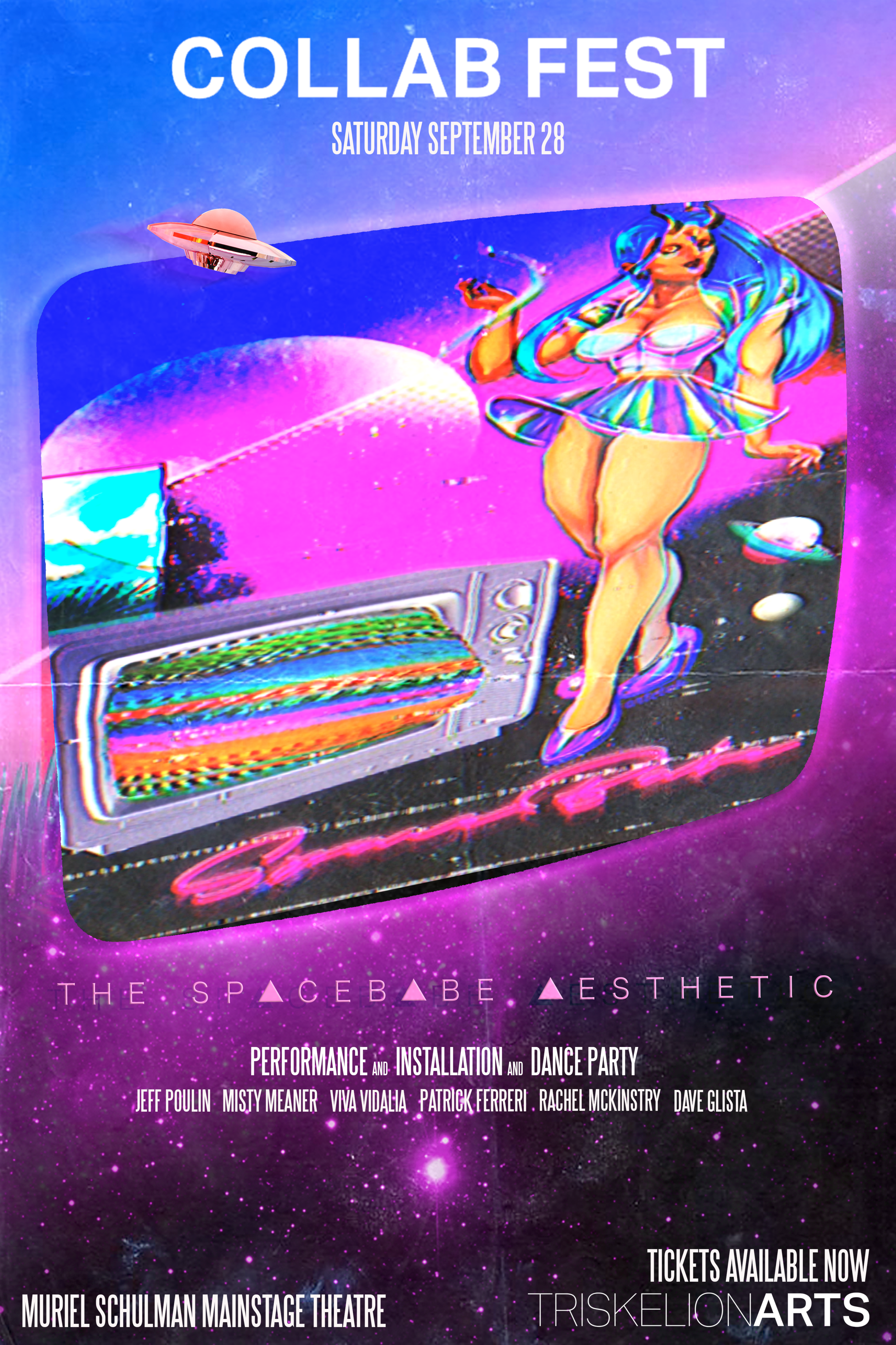 A nostalgic romp through a distorted memory of proto-consumerism… - A nostalgic romp through a distorted memory of proto-consumerism, Spacebabe leads our audience down a rabbit hole of cassette futurism and mallsoft muzak with the hazy aesthetics of adolescence in an emerging hyper-networked cyber world.A plunderphonics of digital vignettes are loosely tied together by live and pre-recorded performances that will move the space through flickering transmissions of a late night lo-fi cable movie marathon circa 1993.Traditional drag performances are accented with projection art and sound design, as well as modern dance, custom lighting, and interactive stage elements that bring the audience into the event.Performers will guide our patrons from party to performance and back again, leaving our dear spectators-come-collaborators to beg the questions 'What the hell was that?', 'Who is Spacebabe?', and 'Where are my keys?'.LEARN MORE ABOUT SP▲CEB▲BE