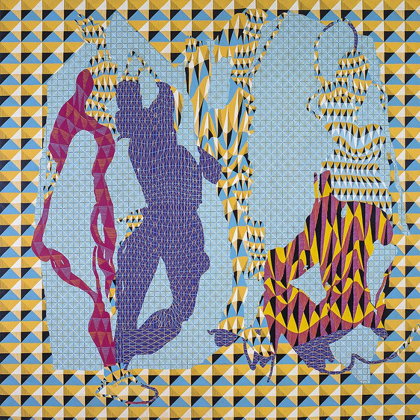 Image: Natalya Hughes, Les Demoiselles d'Avignon 2016, acrylic on poly cotton, 200 x 200cm