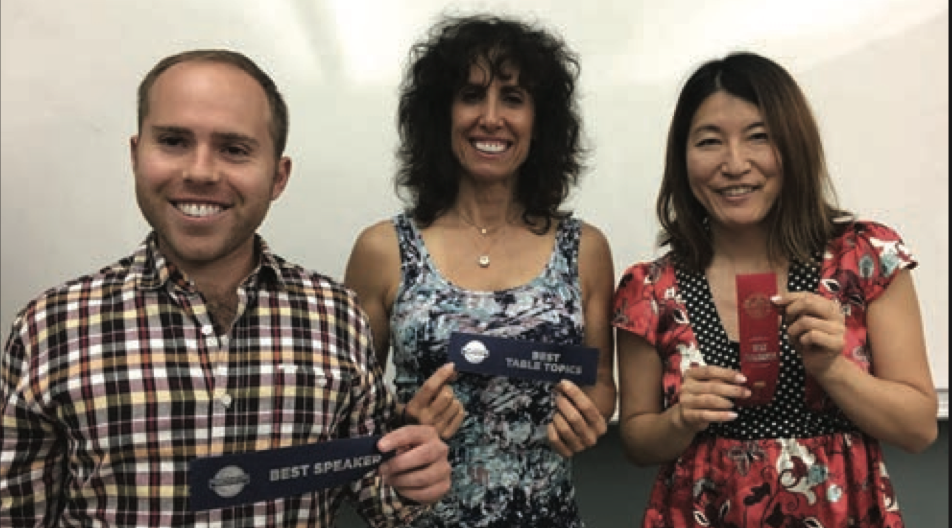 Our illustrious winners that night were Andrew Citron, Former District 1 Executive Committee Division Director of the Year; Rona Lewis, Former Chairperson of the Speakers Bureau for District One at Toastmasters International; and Rika Kanaoka, longtime member of Toastmasters 90210.
