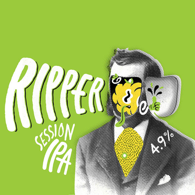 Ripper - Session IPA    4.9% ABV   A hop bomb without the booze. A beer that loves to please. Delivering flavour in abundance, but not too much to have a decent session. Grapefruit, fresh citrus and touch of forest pine. Bitter, but balanced.  Hops: Centennial, Cascade, El Dorado