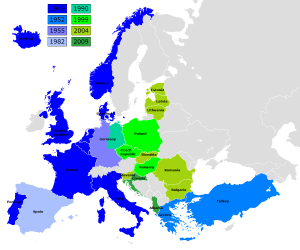 Expansion of the North Atlantic Treaty Organization in Europe. Image by Kpalion.