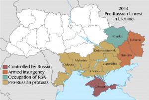 Map of protests by region, indicating the severity of the unrest at its peak. Map by RGloucester