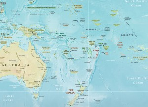 Map of Island States in the Pacific