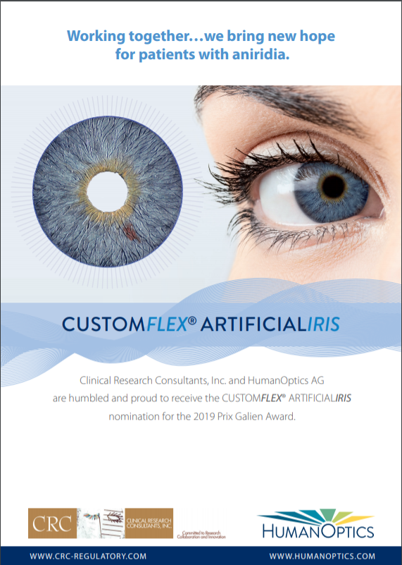 Prix Galien 2019 program advertisement for Clinical Research Consultants, Inc. and Human Optics AG CUSTOM FLEX ® ARTIFICIAL IRIS