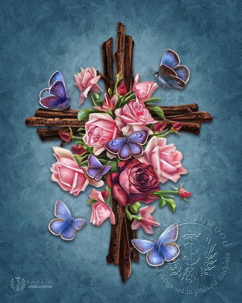 Butterfly Rose Cross