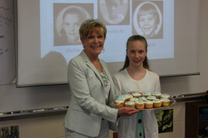 Gwen made cupcakes that spelled out the title of the book. Love this girl!