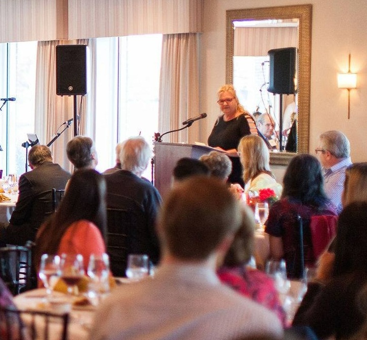 Above: Jennifer Clinger, a former resident of Magdalene House in Nashville, speaks about her experience at the Magdalene House Chicago Annual Gala in 2019.