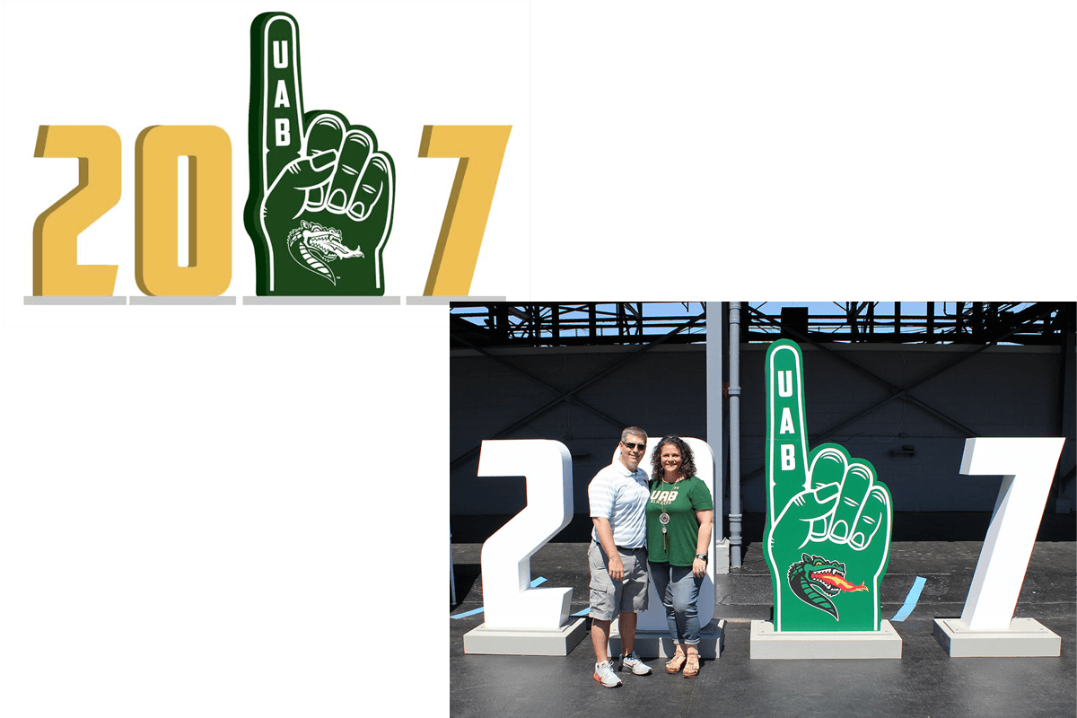 Atlanta Props™ Custom 3D Letters and Logos - UAB Large Numbers and Foam Hand