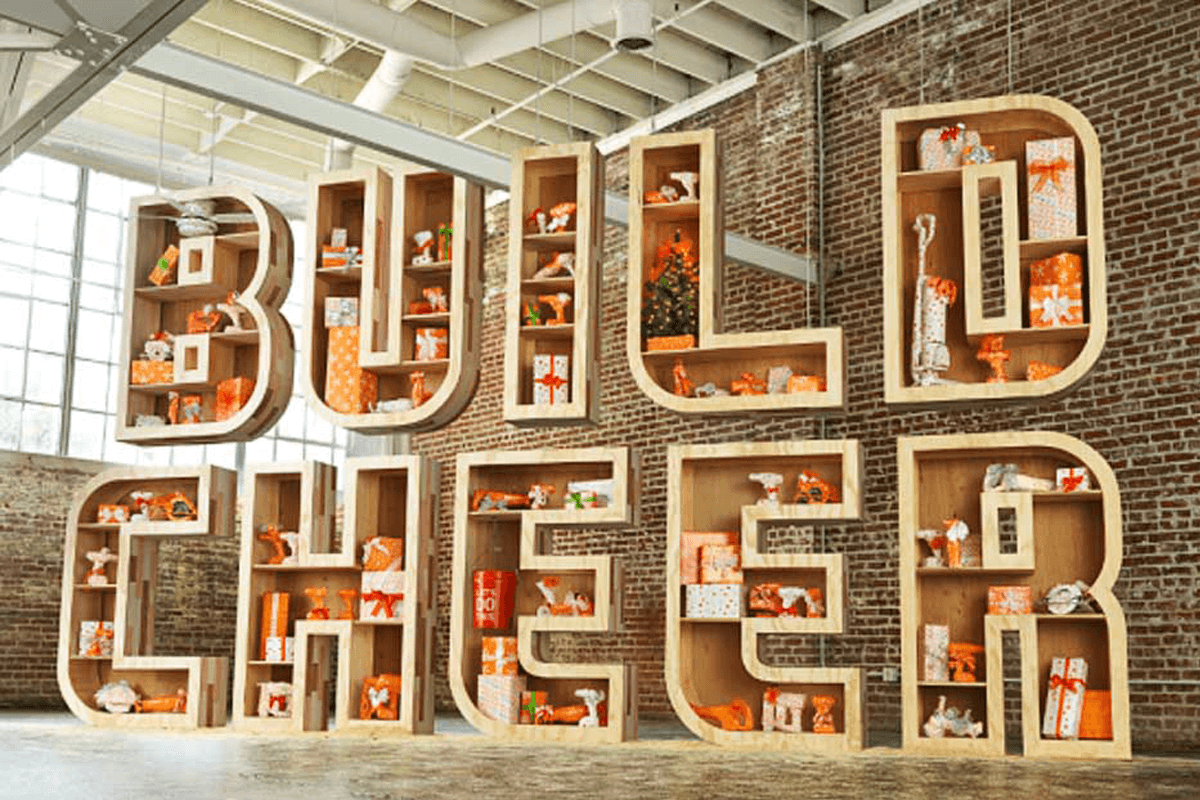 Atlanta Props™ Custom 3D Letters and Logos - Home Depot Letters with Display Shelves for Film Shoot