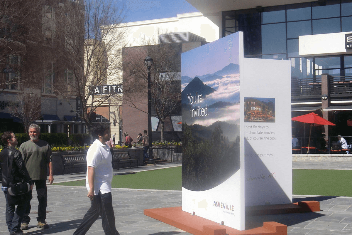 Atlanta Props™ Custom 3D Letters and Logos - Giant Greeting Card for Asheville, North Carolina Tourism Campaign