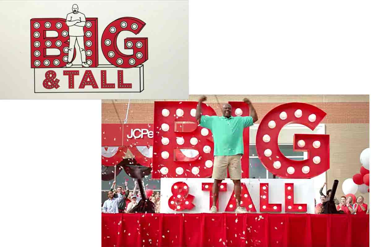 Atlanta Props™ Custom Film Prop - Big and Tall logo with Shaquille O'Neal for JC Penney Commercial Shoot